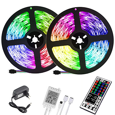 cheap LED Strip Lights-(2x5M)10M 32.8ft LED Light Strips RGB Tiktok Lights 2835 600leds 8mm Strips Lighting Flexible Color Changing with 44 Key IR Remote Ideal for Home Kitchen Christmas TV Back Lights DC 12V