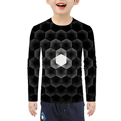 cheap Boys' Clothing-Kids Boys' Active 3D Long Sleeve Tee Black