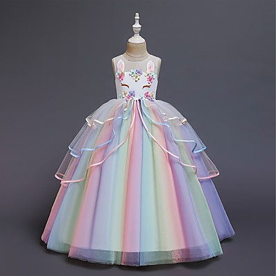 cheap Kids-Kids Little Girls' Dress Unicorn Rainbow Color Block Tulle Dress Flower Party Birthday Layered Tulle Ruffled White Blushing Pink Maxi Sleeveless Princess Sweet Dresses Regular Fit 3-12 Years