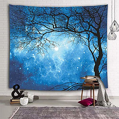 cheap Wall Art-galaxy tapestry wall hanging stars blue sky wall tapestry tree night sky wall art for bedroom home dorm decor w59 x l51