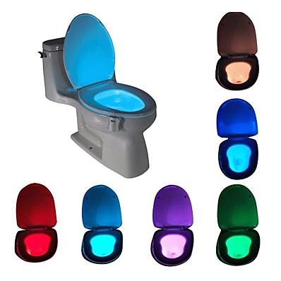 billiga Inomhusbelysning-ledad toalett nattljus rörelseaktiverad rörelsesensor med 8-färgskiftande vattentätt tvättrum för vuxen barns säkerhets toalettstolslampa