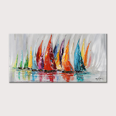 cheap Wall Art-Oil Painting Hand Painted Abstract Landscape Horizontal Modern Rolled Canvas (No Frame)