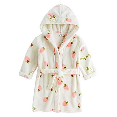 "cheap Kids in home-kids bathrobes for girls boys,baby toddler robe hooded flannel bathrobe pajamas sleepwear for girls boys (us 7-8t/height 55.0"", strawberry)"