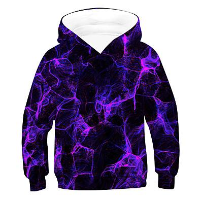 cheap Boys' Clothing-Kids Boys' Hoodie & Sweatshirt Long Sleeve 3D Drawstring Purple Children Tops Active Basic Children's Day