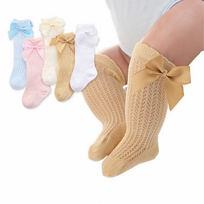 cheap Kids' Accessories-Toddler Girls' Underwear & Socks White Blue Solid Colored Mesh Bow White Yellow Blushing Pink