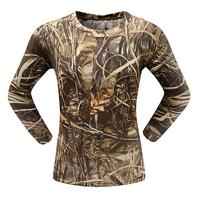 cheap Hunting & Nature-Men's Hunting T-shirt Tee shirt Camo / Camouflage Long Sleeve Outdoor Spring Summer Ultra Light (UL) Breathability Quick Dry Breathable Top Cotton Polyester Camping / Hiking Hunting Fishing Traveling