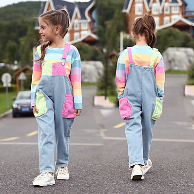cheap Kids-Kids Girls' Overall & Jumpsuit Clothing Set Long Sleeve Rainbow 2 Piece With Pockets Rainbow Stripes Color Block Denim Cotton Active Streetwear 3-12 Years