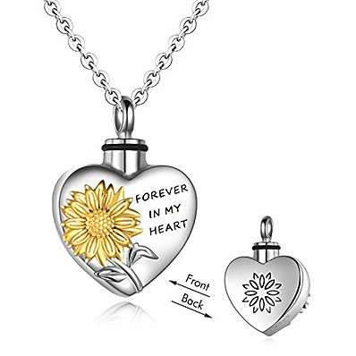 cheap Jewelry & Watches-sterling silver sunflower urn necklaces cremation jewelry for ashes easter keepsake for women