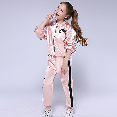 cheap Kids-Kids Girls' Clothing Set Long Sleeve Blushing Pink Solid Colored Active Streetwear