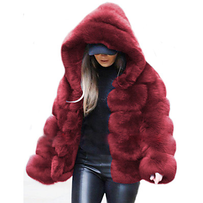 cheap Valentine's Gifts-Women's Faux Fur Coat Fall Winter Daily Outdoor clothing Date Regular Coat Warm Regular Fit Chic & Modern Elegant & Luxurious Casual Jacket Long Sleeve Fur Solid Colored Sapphire Wine khaki