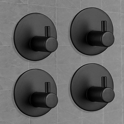cheap Bath Accessories-Adhesive Hooks Heavy Duty Wall hooks 4 pack Removable Matte Black Durable 304 Stainless Steel Wall Hangers, Waterproof Rustproof Oil Proof for Kitchen, Bathrooms, Doors, Office, Closet