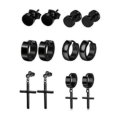 cheap Jewelry & Watches-6 pairs stainless steel stud earrings for women mens black stud hoop huggie cross earrings punk style goth earrings set