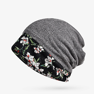 cheap Scarves & Bandanas-Women's Floppy Hat Knitwear Cotton Basic - Floral Comfortable Fall Winter Blue Red Orange