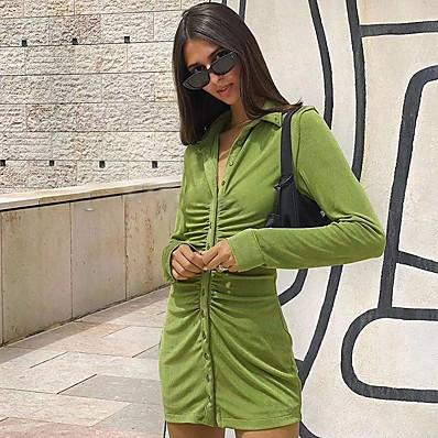 abordables Cadeaux Saint-Valentin-Femme Robe Fourreau Mini robe Courte Manches Longues Couleur unie Ruché Patchwork Automne Sexy 2021 Orange Vert S M L