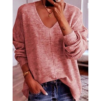 cheap Knit Tops-Women's Basic Knitted Solid Color Plain Pullover Cotton Long Sleeve Loose Sweater Cardigans V Neck Fall Winter Blue Blushing Pink