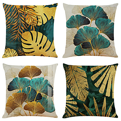 cheap Home Decor-Set of 4 Throw Pillow Cases Open Branches and Loose Leaves Linen Square Decorative Throw Pillow Cases Sofa Cushion Covers 18x18