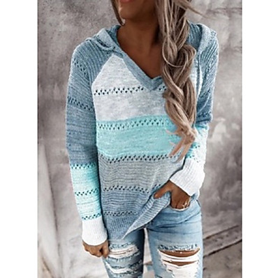 cheap Knit Tops-Women's Casual Knitted Color Block Pullover Sweater Long Sleeve Loose Sweater Cardigans Hooded Fall Winter Wine Gray khaki Holiday Work
