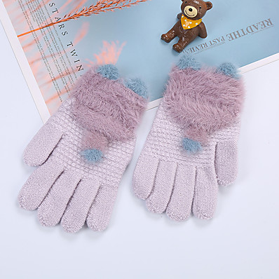 cheap Kids' Accessories-2pcs Kids Unisex Active Solid Colored Full Finger Knitwear Gloves Purple / Blushing Pink / Dusty Rose One-Size