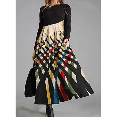 cheap Valentine's Gifts-Women's Shift Dress Maxi long Dress Rainbow Long Sleeve Color Block Print Fall Winter Round Neck Casual 2021 M L XL XXL 3XL