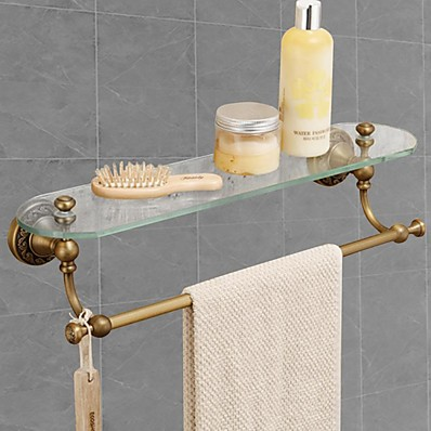 cheap Bathroom Products-Multifunction Towel Rack with Glass Shelf for Bathroom Decor Wall Mounted Matte Brass 1pc