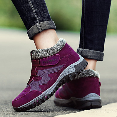 cheap Sneakers-Women's Boots Flat Heel Closed Toe Basic Minimalism Daily Damask Slogan Rubber Suede Booties / Ankle Boots Wine / Black / Purple