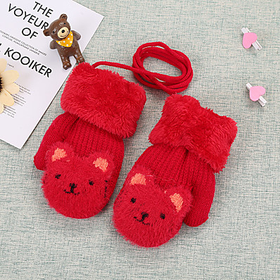 cheap Kids' Accessories-2pcs Kids Unisex Active Animal Knitted Knitwear Gloves Red / Blushing Pink / Wine One-Size