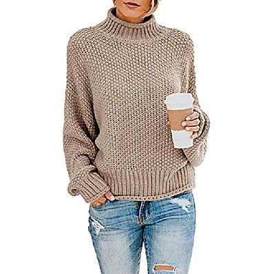 cheap Knit Tops-women casual pullover sweater turtleneck batwing long sleeve chunky knitted jumper tops khaki