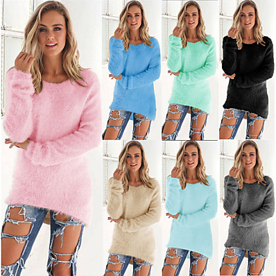 cheap Knit Tops-Women's Knitted Solid Color Plain Pullover Long Sleeve Plus Size Sweater Cardigans Crew Neck Fall Winter White Black Blue