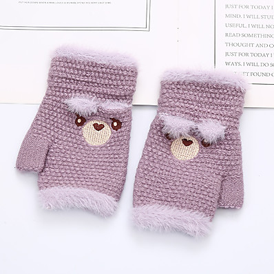 cheap Kids' Accessories-2pcs Kids Unisex Active Cartoon Embroidered / Knitted Knitwear Gloves Purple / Blushing Pink / Orange One-Size