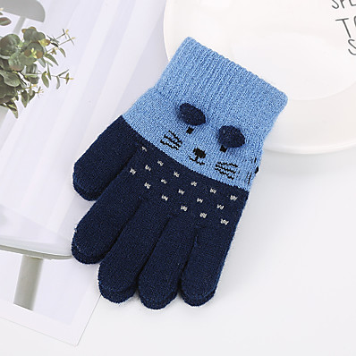 cheap Kids' Accessories-2pcs Kids Unisex Active Cat Cartoon Knitted Acrylic / Knitwear Gloves Black / Blushing Pink / Dusty Rose One-Size