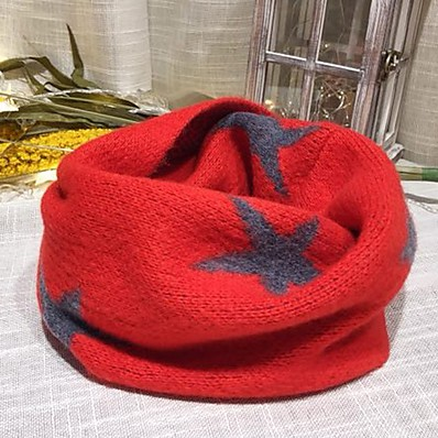 cheap Kids' Accessories-1pcs Toddler Unisex Sweet Black / Red Geometric Roman Knit Scarves Black / Blue / Red One-Size
