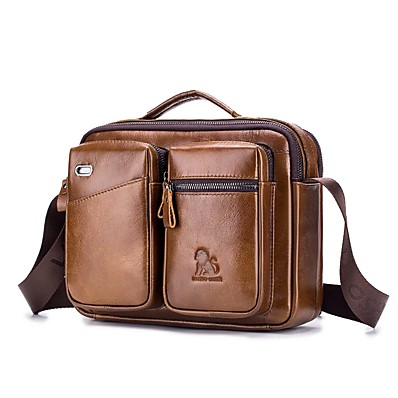 cheap Bags-Men's Bags Cowhide Shoulder Messenger Bag Laptop Bag Crossbody Bag Zipper Daily Outdoor Black Brown Coffee
