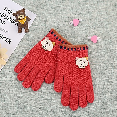 cheap Kids' Accessories-2pcs Kids Unisex Basic Red Solid Colored Knitwear Gloves Red / Blushing Pink / Navy Blue One-Size