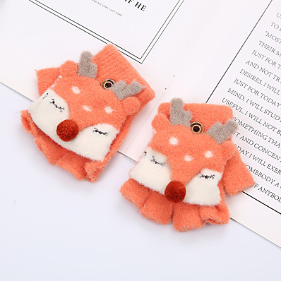 cheap Kids' Accessories-2pcs Toddler Unisex Active Solid Colored / Cartoon Knitted Knitwear Gloves Dusty Rose / Orange / Khaki One-Size