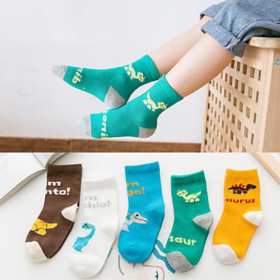 cheap Kids' Accessories-5 Pairs Kids Toddler Boys' White Blue Dinosaur Print Color Block Print Underwear & Socks Rainbow
