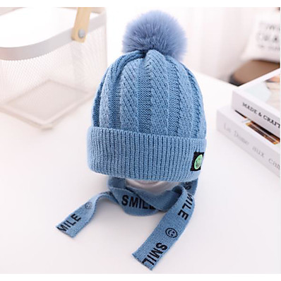 cheap Kids' Accessories-1pcs Toddler Girls' Active Blue Solid Colored Knitted Acrylic Hats & Caps Blue / Blushing Pink / Wine One-Size