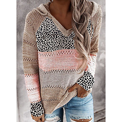 cheap Knit Tops-Women's Knitted Leopard Color Block Pullover Long Sleeve Loose Sweater Cardigans Hooded Fall Winter Black Red Wine
