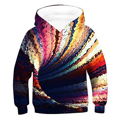 cheap Boys' Clothing-Kids Boys' Hoodie & Sweatshirt Long Sleeve 3D Children Tops Active Rainbow