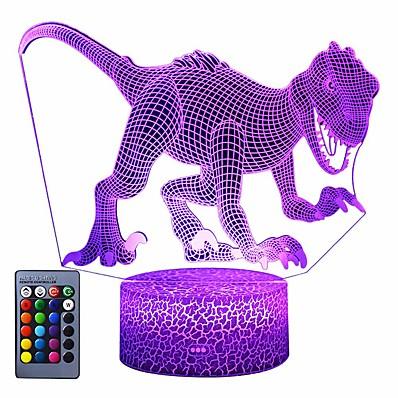 abordables Déco & Lumière De Nuit-Veilleuse de dinosaure 3D Lampe d'illusion 3D à 3 motifs 16 couleurs Changement de décor Veilleuse avec télécommande pour salon Bar de chambre à coucher Meilleurs cadeaux de dinosaure Jouets pour