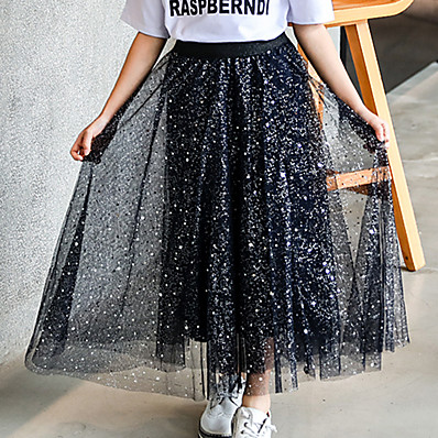 cheap Kids-Kids Girls' Skirt Purple White Black Galaxy Cotton Active Streetwear
