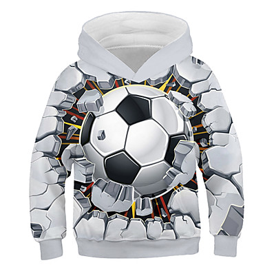 cheap Boys' Clothing-Kids Boys' Hoodie & Sweatshirt Long Sleeve 3D Print Graphic Football White Blue Purple Children Tops Active Streetwear Sports 3-12 Years