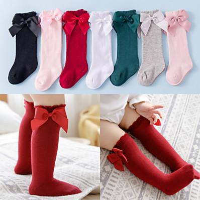 preiswerte Kindermode Accessoires-Kinder Baby Mädchen Unterwäsche & Socken Weiß Rote Rosa Schwarz Weiß Rot Solide Schleife