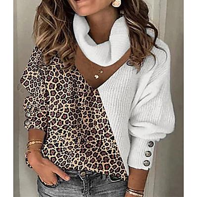 cheap Knit Tops-Women's Knitted Leopard Sweater Long Sleeve Sweater Cardigans V Neck Fall Winter White Khaki