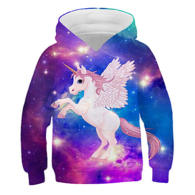 cheap KIDS-Kids Girls' Active Streetwear 3D Graphic Print Long Sleeve Hoodie & Sweatshirt Rainbow