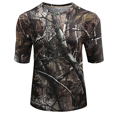 cheap Hunting & Nature-Men's Hunting T-shirt Tee shirt Camouflage Hunting T-shirt Camo / Camouflage Short Sleeve Outdoor Autumn / Fall Spring Summer Ultra Light (UL) Quick Dry Breathable Sweat wicking Top Polyester Taffeta