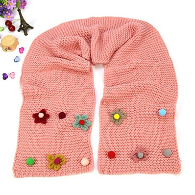 cheap Kids' Accessories-1pcs Kids Unisex Active Floral Knitting Scarves White / Black / Red One-Size