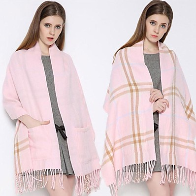 cheap Scarves & Bandanas-limited stock - 50% off plaid shawl wrap with pockets - pink