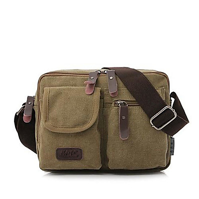 cheap ACCESSORIES-Men's Bags Canvas Shoulder Messenger Bag Crossbody Bag Vintage Canvas Bag Daily Black Khaki Green Coffee