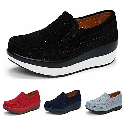 cheap Pumps & Heels-Women's Loafers & Slip-Ons Comfort Shoes Round Toe Casual Daily Yoga Walking Shoes Suede Solid Colored Black Red Dark Blue