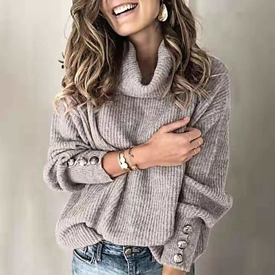 cheap Knit Tops-Women's Basic Knitted Button Solid Color Pullover Long Sleeve Sweater Cardigans Turtleneck Fall Winter White Black Blue
